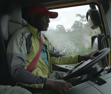 Driver on board a Renault Trucks K in Cameroon